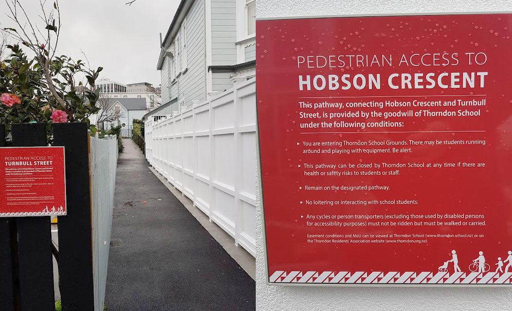 Pedestrian walkway between Hobson Cres and Turnbull St
